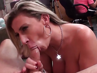 Sexy blond haired MILF knows how to suck big cocks