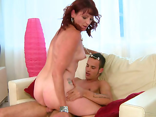 Sizzling brunette mom rides young ardent lover in cowgirl style