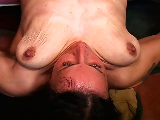 Old bitch with saggy tits enjoys young dude