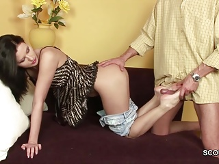 stepdaddy Seduce Skinny Stepdaughter to Fuck with Massage