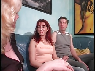 Redhead milf screws and her blonde friend joins in!