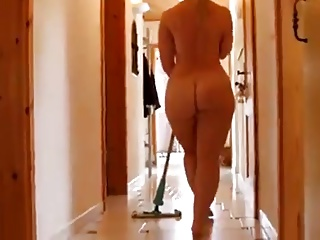 mopping the floor naked