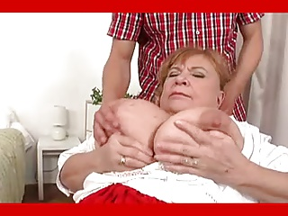 Granny with huge tits fucks young boy. Full movie. Grannie