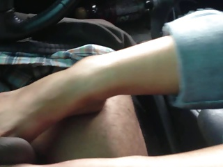 gf gives footjob after class with premature ejaculation