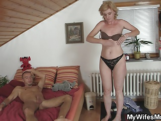 Blonde mom in law is happy riding my horny cock!