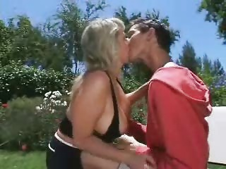 Mom Son's friend Sex in the garden