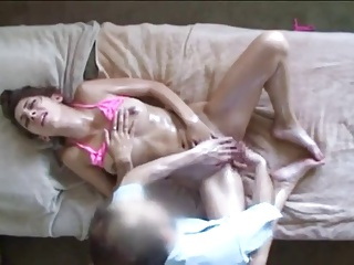 Brunette gets a Special Japanese Massage