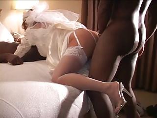 Cuckold wedding night with two black cocks
