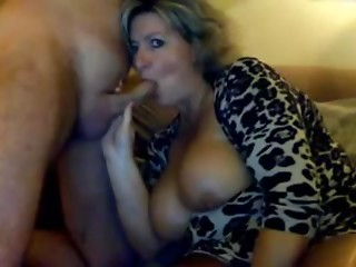 Big tits on MILF scuking her man, cums on her_240p