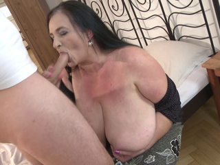 Stefanka plays with a hard cock