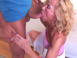 Mature blonde Marcia in piss and fuck action