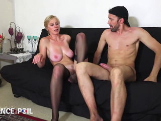 BLONDE FRENCH MILF DIANA IN BLACK STOCKINGS