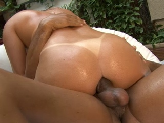 Mature babe gets all oiled up and anally fucked