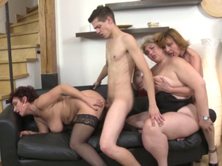 One cock for three mature girls
