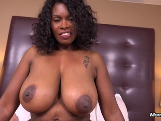 black MILF mom with big natural tits does porn in pov