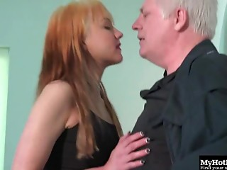 Elder fellow gladly pushes his cock unfathomable into Lexi's hairless twat