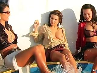 Older angels in an astounding hot scene by wetlook pool.