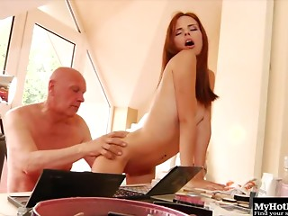 Cute redhead called Susana rides the old shlong for the 1st time