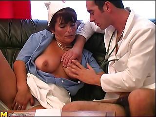 Cute matured nurse enjoying doctor fingering her cum-hole