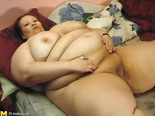 Overweight bimbo from the Netherlands tries to ride her lover's thick penis