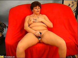 Charming elder damsel with large mangos fingering her cum-hole