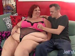 Redhead old slut Ravishing Cheaks receives screwed hard.