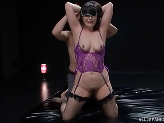 Blindfolded Japanese lass in darksome nylons and the wet crack licking
