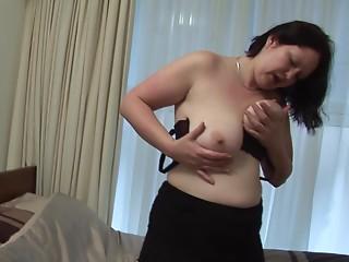 Buxom matured hottie showcasing her large bumpers then masturbating