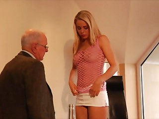 Blond with a ideal body getting shagged by the elder office stud