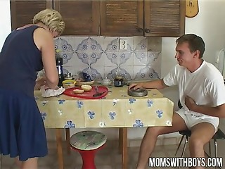 Old bitch Feed Juvenile Stud With Cum-hole Fucking Breakfast