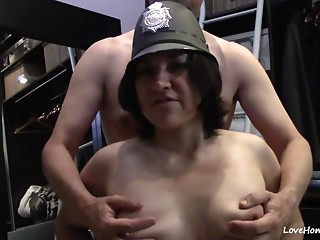 Policewoman cosplay turns into a coarse romp