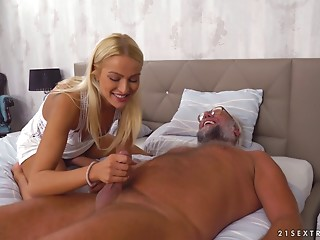Elder fellow wishes to give this consummate blond the most good drilling ever