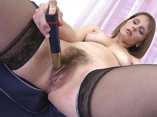 Bewitching matured erotic dame loving using multiple toys to masturbate