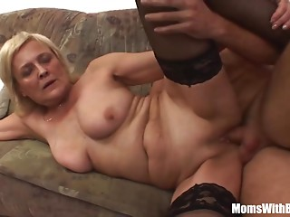 Golden-haired Aged Mother In Nylons Hairless Bawdy cleft Drilled