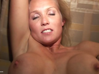Large titties damsel masturbates passionately ahead of wild hammering in a reality discharge
