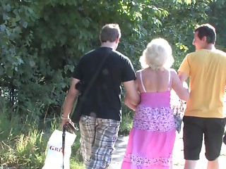 Grandmother and a pair of college studs have a trio in the woods