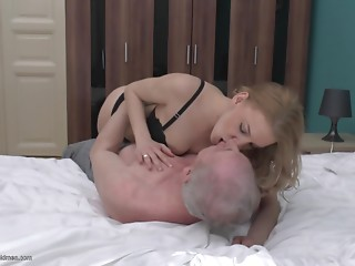 Miniskirt and nylons angel has great sex with a senior citizen