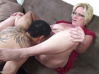 Rigid pecker receives all moist fucking her nice-looking older muff