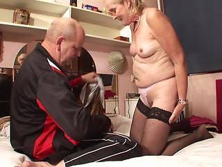 Grandmother and her senior hubby have great sex for a porn