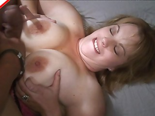 Chunky wobblers sweetheart sucks a large jock and gives a titjob