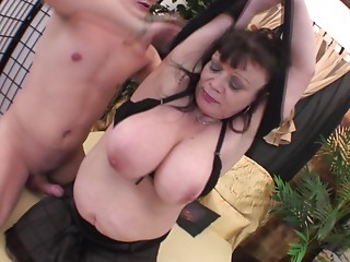 Large abdomen old bitch playgirl in hot patterned nylons acquires laid