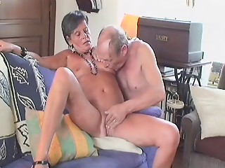 Old bitch slut lets a couple of dudes take turns on her bawdy cleft