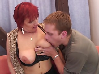 Fit dude copulates a old old bitch whore in darksome nylons
