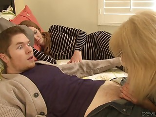 Elder hooker seduces him into cheating with her moist cum-hole