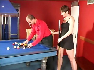 Elder old bitch with tiny meatballs fucking on a pool table