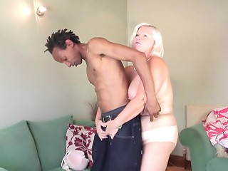 Overweight mature blond is insane with craving for BBC