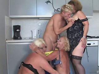 Fit chap acquires perspired fucking 3 bulky grannies at one time