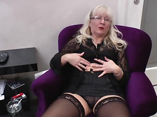 Nerdy blond acquires bored and makes a decision to play with her hairless cum-hole