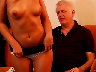Grandad bangs a barely legal babe and not quite has a heart attack
