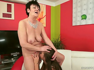 Recent lesbo hottie fools around with a grandmother whore and eats her out